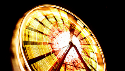Ferris wheel, spinning around. Vaguely related to rotations and angles.