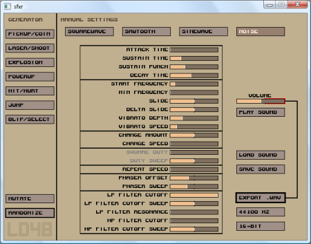 sfxr, great free sound effects tool